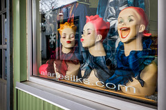 XXO (johnjackson808) Tags: fujifilmxt1 granvilleisland kiss vancouver creepy laugh mannequins streetphotography window