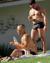 IMG_0310 (danimaniacs) Tags: shirtless man hot guy muscle muscular cellphone hunk trunks swimsuit stud scruff bulge