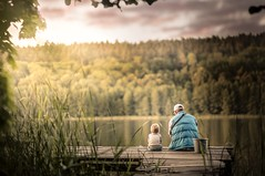 fishing with daddy (iwona_podlasinska) Tags: boy sunset lake man parenthood childhood pier fishing woods child father son deck magical