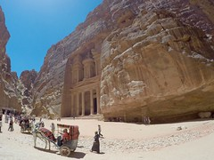 "PETRA - PETRA - Al Khazneh (""The Treasury"") (LEO-ONE) Tags: world city sunset red sea people sculpture woman sun man history tourism beach rock stone dead boat lawrence al amazing war ship shisha gulf desert cut flag redsea petra middleeast donkey el dromedary unesco east jordan riding camel arab arabia flagpole middle deadsea tombs jordanian khazneh thetreasury deir themonastery giordania 7wonders gopro nabataeans العقبة‎"
