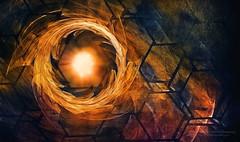 Vortex of Fire (ScottNorrisPhoto) Tags: usa sun vortex abstract texture wisconsin contrast fire gold saturated warm ring explore digitalpainting milwaukee expressive fractal six tornado honeycomb cells bold digitalartwork repeatingpattern sixsided scottnorrisphotography