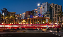 Gaslamp District (without reservation) Tags: california travel blue tourism skyline night downtown cityscape sandiego trolley historic hardrockhotel gaslampdistrict harbordrive petcopark gaslampsign sonya7r