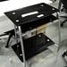 Black glass PC desk