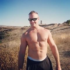 Hills (ddman_70) Tags: shirtless pecs hiking abs sweatpants
