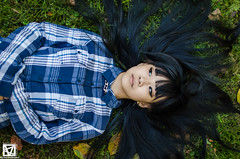 DSC_7601 (marcellomasiero) Tags: park cute green girl beauty shirt asian outdoor young longhair bluehair blackhair