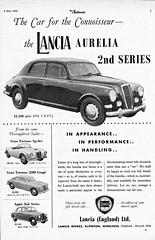 1956 Lancia Aurelia 2nd Series  (U.K. Ad) (aldenjewell) Tags: uk sedan ad spyder 2nd series gran 1956 saloon turismo aurelia coupe 2500 lancia appia berlina