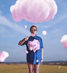 My cotton candy heart (veldreannija) Tags: pink blue sky people cloud sun white selfportrait art nature girl field rain composite photoshop photography artist candy fineart cotton conceptual fineartphotography annija annijaveldre