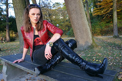 Lena 37 (The Booted Cat) Tags: sexy girl leather high model highheels boots jeans jacket heels tight