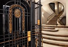 About 100 years ago / Hace como 100 aos (galayos) Tags: bestphotoedition casamatesanz antoniopalacios arquitectura architecture edificio building escalera escalinata stair stairway ascensor elevator madrid staircase