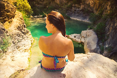 Green pool. (arturii!) Tags: wow amazing awesome superb interesting stunning impressive nice beauty great arturii arturdebattk canonoes6d gettyimages travel trip tour route viatge holidays vacations nature outdoor summer summertime estiu verano girl bikini sensual sensuality bath swim colorful river creek pyrenees pirineus catalonia catalunya catalua europe cool visual back longhair russian green paradise pool heat hot hidden secret profile sitting scenery place view valley canon