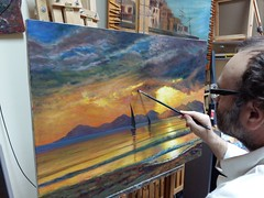 Giaman, Sunset over a Mountain Lake, 2016 WIP (atelier nerodimARTE) Tags: workinprogress oiloncanvas oilpaintings landscapes bierstadt hudsonriverschool life states germany palette colors farben kunst arte art fakes