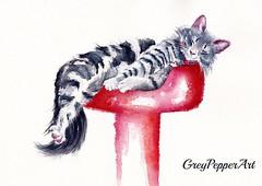 Sweet Dreams (GREY PEPPER ART) Tags: cats kittens sleeping greypepperart watercolour pets felines
