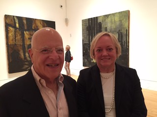 Collector Richard Bermont with Fort Worth museum director Marla Price at the Donald Sultan opening at the Lowe mu