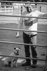 Joseph and Kona (Robert Borden) Tags: bw northamerica southwest westcoast california santaclarita newhall quigley quigleycanyon canyon quigleycanyonopenspace trailhead cowboy dog man portrait ranch rancher animal