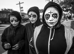 All Hallows Eve (crabsandbeer (Kevin Moore)) Tags: halloween scary people bw berlin maryland costume makeup ghost fright night fear frown serious allhallowseve cross crosses crucifix africanamerican girls street