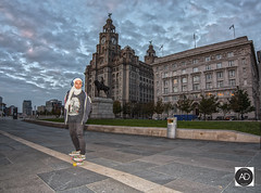 More things bind us than divide us (alun.disley@ntlworld.com) Tags: liverpool pierhead liverpoolwaterfront royalliverbuilding cunardbuilding clocks clouds weather liverbirds skateboarding sport action architecture city urbansport people culture portsandharbours cityscape statues merseyside uk england