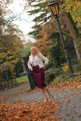 IMG_2932 (AndyMc87) Tags: autumn fall blond fashion dress skirt heels babe colour colourful park latern allee avenue parkway bokeh trees canon eos 550d tamron 70200 elegant