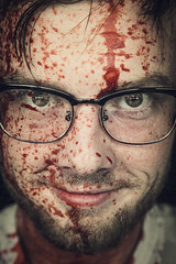 Portrait of a Serial Killer (Anthonypresley1) Tags: halloween october autumn horror scary macabre portrait people blood killer face male glasses vintage old retro anthony presley anthonypresley