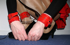 Red restraints (colleen_ni00) Tags: crossdresser tranny transvestite shiny tights stilettoes bondage cuffs