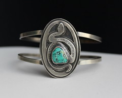 snake and turquoise cuff (Jewelry and Art by Karen Higgins) Tags: sterling silver handmade artisan jewlery one indigo moon karenhiggins rings bracelets