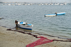Fisherman at Santiago de la Ribera (RagbagPhotography) Tags: fishing nets sea boat fisherman beach spain murcia marmenor sanjavier santiagodelaribera ribera la de santiago challenge 366 365
