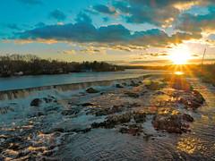 Pawtucket Falls - Lowell MA (dennisgg2002) Tags: sunset lowell massachusetts ma merrimac river pawtucket falls dusk rays waterfall waterfalls