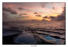 Les flaques bleues (Laurent Asselin) Tags: eau mer ocan bleu orange couleurs ciel nuages lumire aube sunrise paysage rivage cte guyane kourou