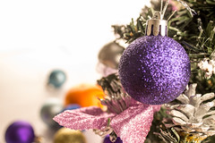violet christmas ball on the pinetree (mikhafff1984) Tags: xmas christmas holiday newyear 2017 decorations balls white violet pinetree