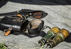 An American Civil War officer's kit at a 2013 Boy Scout encampment near Springfield, OR (mharrsch) Tags: reenactor livinghistory civilwar americancivilwar military 19thcenturyce soldier history springfield oregon mharrsch binoculars pistol holster