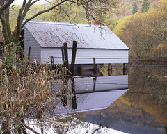 Boathouse #1 (Kevin J Allan) Tags: scotland trossachs fujivelvia50 transparency slide lochard riverforth boathouse reflection