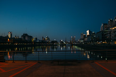 (thekevinchang) Tags: puertomadero buenosaires argentina canal crane warehouses barrio night reflections
