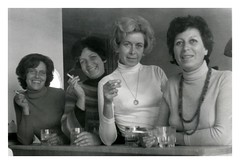 Four (vintagesmoke) Tags: vintage snapshot found photophotograph women four smoking cigarette monochrome black white