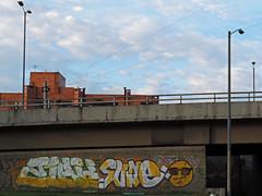 No. 1281 - 15 de noviembre/16 (s_manrique) Tags: calle muro graffiti cielo postes puentevehicular nubes