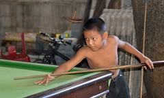 young snooker player (the foreign photographer - ฝรั่งถ่) Tags: young boy snooker player pool cue table billiards khlong thanon portraits bangkhen bangkok thailand canon kiss 400d
