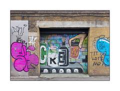 Street Art (Unknown), East London, England. (Joseph O'Malley64) Tags: streetart urbanart graffiti eastlondon eastend london england uk britain british greatbritain mural muralist art artist artistry artwork brickwork bricksmortar pointing steelreinforcedconcretelintel aluminiumcheckerplate electricalservicewiring conduit junction spotlighting concrete tarmac shutter rollershutter industrialunit tags tagged tagging throwies urban urbanlandscape aerosol cans spray paint