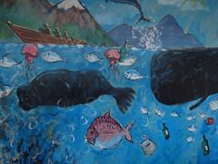 It's a Man's World (Steve Taylor (Photography)) Tags: pollution shoppingbag whale dolphin boat bottle jellyfish plasticbag mountain leaping art graffiti mural streetart newzealand nz southisland canterbury christchurch city cbd fish trash rubbish garbage