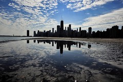 My city (CzechInChicago) Tags: chicago chitecture chitectureex skyline city panorama horizontal reflection beach shore lakeshore lake drive track puddle puddlegram puddlemasters clouds cloudporn sky skyscrapers