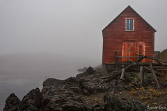 Time Takes Its Toll (Spence D) Tags: fog shed rock newfoundland old mist