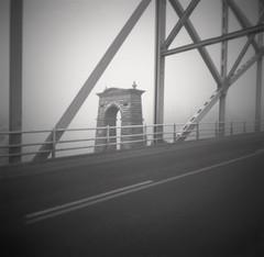 Two Bridges / Alexandra / Central Otago / NZ (Matthew McCutcheon) Tags: matthew mccutcheon matt quintin aperture architecture aperture3 analog alexandra centralotago central blackandwhite bw blackwhite bwf blackandwhitefilm film filmcamera filmscan familyimages bridge pinhole pinholecamera holga lomonz lofi lowfi lomo lomography 6x6 sepia toygraphy epson epsonv700 elements southisland nz newzealand pinholeimage fujifilm fuji 120mm 120film rollfilm mediumformat