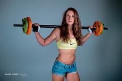 Fit & Gym (Tom Maek photographer) Tags: girl sport female training power body longhair bodybuilding nike fitness gym fit dumbbell jeansshorts