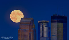 """Harvest """"Super"""" Moon (Greg Lundgren Photography) Tags: urban moon minnesota skyline night cityscape minneapolis fullmoon telephoto moonrise bluehour wellsfargo harvestmoon ids capella cityofminneapolis greglundgren onlyinmn supermoon"""