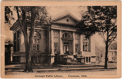 Carnegie Public Library, Conneaut, Ohio (1924) (Sent from the Past) Tags: 1920s ohio sepia buildings libraries postcard postcards 1925 publiclibrary whiteborder conneaut citybuildings realphoto carnegiepubliclibrary conneautohio whitmorepontius