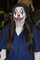Scary clown (Ashley3D) Tags: park female night hair dead evening scary october san long downtown texas zombie walk clown sunday makeup 25 latin overalls hispanic sa antonio jumpsuit hemisphere 2015 brunet zombiewalk ashley3d