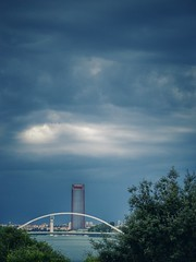 (Berni_Prez) Tags: bridge sky puente sevilla guadalquivir seville cielo barqueta puentedelabarqueta torrecajasol torrepelli fujix30 torresevilla