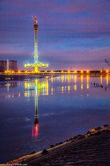 Mersey Gateway tower (2 of 1) (andyyoung37) Tags: england fiddlersferrypowerstation merseygatewaycrossing reflections runcorn sunkenboat uk wiggisland cheshire constructioncranes rivermersey sunset unitedkingdom gb