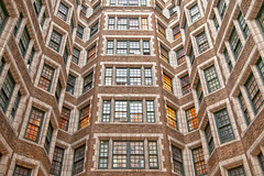 Windows & Angles (michaelelliottnyc) Tags: windows lights angles shapes geometric symmetry bricks glass color urban nyc newyorkcity manhattan upperwestside design living