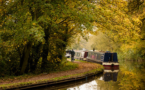 Narrowboats in autumn