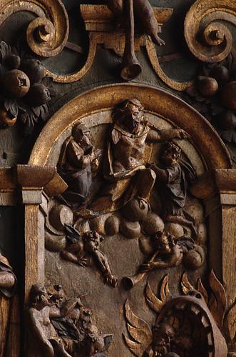 Fløng, Sjælland, kirke, pulpit, cuppa, last judgment, detail