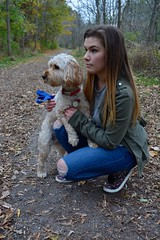 Sarah And Riley (YasmineMoghimiPhotography) Tags: startled scared forest ravine nature people woman girl dog puppy october leaves fall autumn portait profile canada ontario toronto