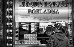 Buying a ticket - Meyer-Optik Goerlitz Orestor 135mm f2,8 (petrwag) Tags: street blackandwhite blancoynegro bw blackwhite ernobl czech clickcamera orestor noiretblanc noirblanc manuallens vintagelens